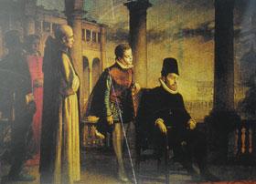EL REY FELIPE II, CON EL INQUISIDOR GENERAL Y ARZOBISPO, FERNANDO DE VALDÉS, PRESIDE UN AUTO DE FE EN VALLADOLID